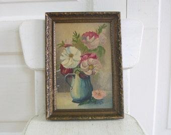 Vintage Floral Oil Painting, Flower Painting, Floral Painting, Vintage Art, Vintage Canvas Painting