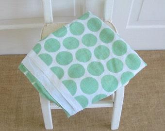 Vintage Green Tablecloth, Polka Dot Tablecloth, Retro Tablecloth, Green Polka Dot Tablecloth, Square Tablecloth