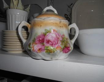 Vintage Shabby Chic look porcelain Double Handled Sugar Bowl Leuchtenburg Germany