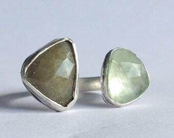 Two Stone Sapphire Ring - Sapphire Statement Ring - Green Sapphire - Modern Bohemian Jewelry