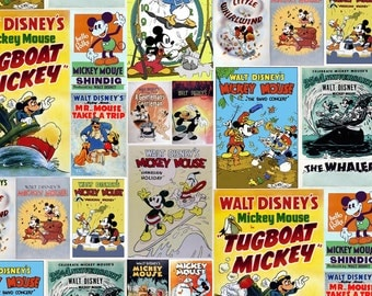 Vintage Look Mickey Mouse Movie Posters Fabric By The Yard