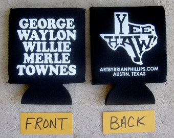 George Waylon Willie Merle Townes Can Coolie Texas Art by Brian Philips