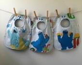 Cookie Monster Baby Gift - Vintage Sesame Street Baby Bib - Cookie Monster Baby Bib - Upcycled Baby Gift - Oversize Baby Bib