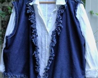 Fringey Denim Vest/ Plus size Vest/ Fashion Denim Vest/ Blue Denim/ Funky Denim Clothing/ Sheerfab Funwear
