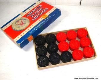American Plastic Checkers, 30 Interlocking Pieces, Elgo Plastics, Red and Black, Retro Board Game, American Eagle, Mid Century  (967-15)