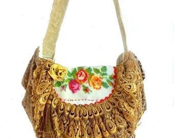 boho chic handbag, bohemian bag, gypsy slouch bag, shabby cottage chic bag, hippie bag, tapestry bag, western chic handbag, shoulder bag