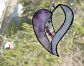 For the love of Purple  Beaded Stained Glass Heart, Passion Purple, Stones, jewels and crystals