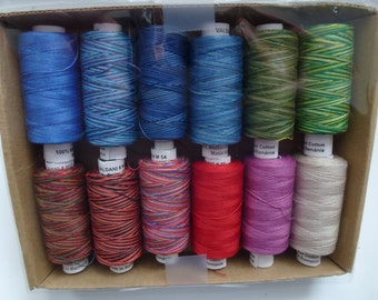 "Valdani 100% Cotton Thread 60wt, 274y each 12 spools - ""Summer"" Collection"