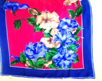 Boho vintage 80s all silk tout soie, large scarf with a pastel beige, blue, purple watercolor print flowers . Made by Vera.