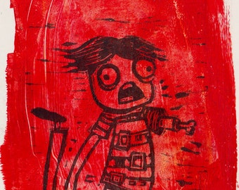 disarmed zombie hand-pulled block print
