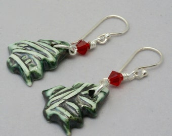 Green Christmas Tree Earrings, Green and Red Earrings, Handmade Holiday Jewelry, Christmas Gift, Hostess Gift, Ready to Ship, Under 25