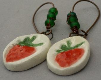 Rustic Strawberry Earrings, Artisan Strawberry Jewelry, Boho Strawberry Earrings, Berry Earrings, Red Ceramic Earrings, Farmers Market Gift