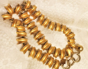 Vintage Anne Klein Necklace Brushed Gold Textured Links 21 Inches Long (J31)