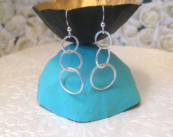 Sterling Silver Earrings Circles Rings Lightweight Earrings Friend Gift Modern Silver Earrings Gift Wrapped Gifts Under 30