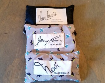 3 Vintage Fabric French Lavender Sachets with Vintage Clothing Label, Home Fragrance Dried Lavender Flower Sachets