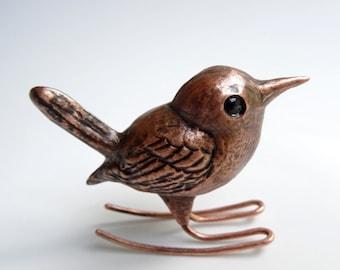 Rocking Wren Copper Repousse Bird Sculpture