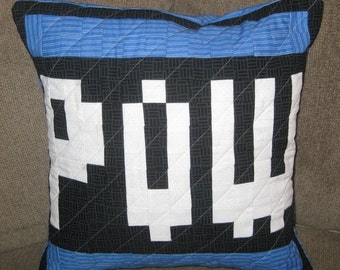 POW Quilted Pillow Cover - Blue - free USA shipping