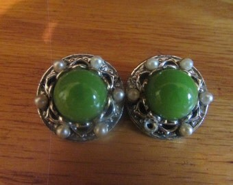 lime green elegant earrings clip