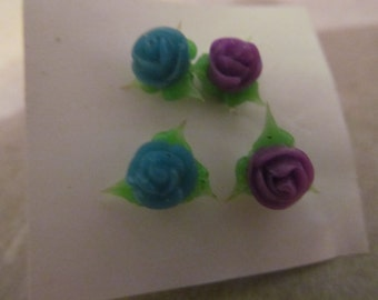 blue and purple rose post earrings