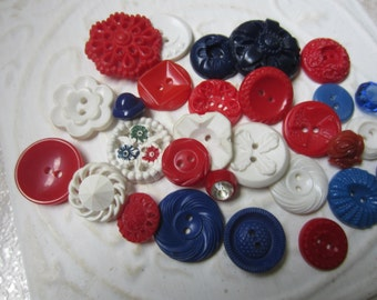 Vintage Buttons - Cottage chic mix of red, blue and white  lot of 28, old and sweet( july 18)