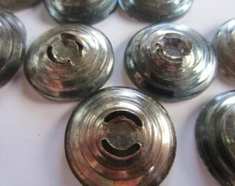 Vintage Buttons - lot of iridecent unique design, reverse painted cut glass, lot of 12 , 1950's(lot nov 107 b)