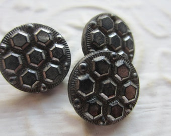 Vintage Buttons -  beautiful lot of 3 medium size matching Victorian silver luster jet black glass, pressed design, (mar 16)