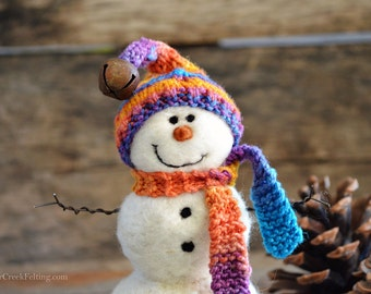 Snowman - handmade - needle felted- one of a kind -  744