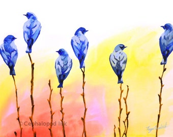 Blue Bird Art Print Gouache / Watercolor, animal illustration, wildlife, bird art, bird nursery decor, bird painting, bird decor, spring