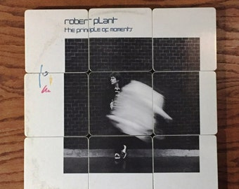 Robert Plant recycled Principal of Moments album cover wood coasters with warped vinyl record bowl