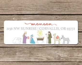 Nativity Return Address Label Stickers - Self Adhesive for Christmas Handdrawn