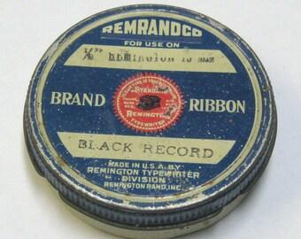 Vintage Remrand Company Ribbon Tin with Remington Typewriter Logo