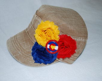 Distressed Tan Military Cadet Style Hat with Shabby Flowers and Colorado Heart Flag Bottlecap