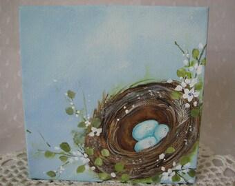 Birds Nest Hand Painted Canvas Aqua 6 by 6 Art Original Painting Wall Art Decor