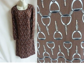 Vintage 70s Dress Size L Brown Equestrian Horse Buckle Strap Disco Wiggle Shift