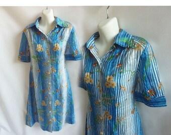 Vintage 70s Shirt Dress size L Blue Floral silk Chiffon Asian 80s Shift A line