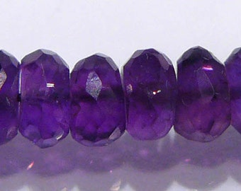 AA Genuine Amethyst Faceted Rondelle Gemstone Beads....5mm....10 Beads