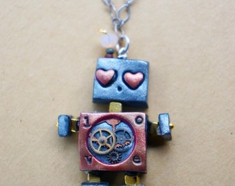 Red LOVE Robot Necklace