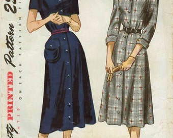 1940s Simplicity 2263 Vintage Sewing Pattern Misses One Piece Dress, Coat Dress, Spectator Dress, Front Button Down Dress Size 14 Bust 32