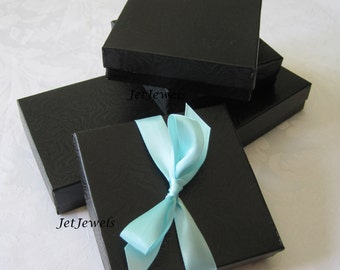 20 Black Boxes, Black Gift Boxes, Jewelry Gift Boxes, Jewelry Box, Kraft Boxes, Favor Boxes, Wedding Favor Boxes, Cotton Filled 3.5x3.5x1