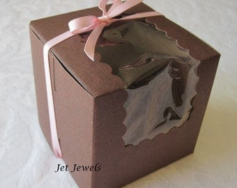 10 Cupcake Boxes, Bakery Boxes, Single Cupcake Box, Wedding Favor Box, Favor Boxes, Candy Box, Cupcake Window Box, Pastry Box, Brown 4x4x4