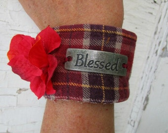Blessed Floral Red Plaid Flannel Cuff Bracelet// Upcycled// emmevielle