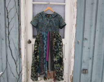 Lg. Artsy Purple Blue Upcycled Scarf Day Dress// OOAK// Reconstructed// Spring Summer// emmevielle
