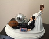 Oakland Raiders Wedding Cake Topper Bridal NFL Funny Football team Football Themed with matching garter