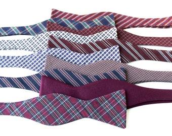 Mismatched Wedding Bow Ties - Groomsmen Bowties - Wine Wedding Bow Ties - Groomsmen Bowties - Berry Wedding Bow Ties - Maroon Bow Ties