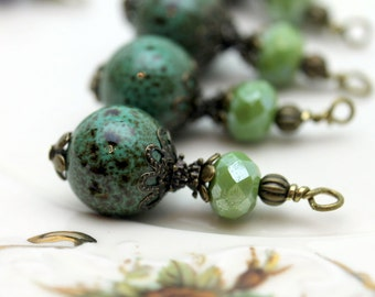 Vintage Style Turquoise Colored Porcelain and Olive Czech Bead Earring Dangle Pendant Charm Drop Set