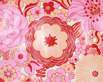 1970s Retro Vintage Wallpaper Vinyl Large Red and Pink Flower Power by the Yard