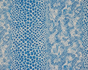 1980s Vintage Wallpaper Blue and White Snakeskin Print by the Yard