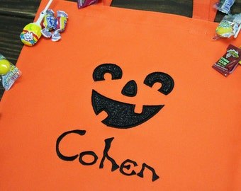 Personalized Pumpkin Halloween Trick or Treat Bag