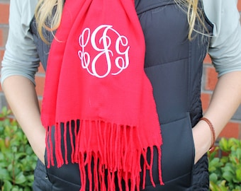 Personalized Cashmere Feel Scarf, Monogrammed Scarf, Gifts for Her, Christmas Gifts, winter scarf