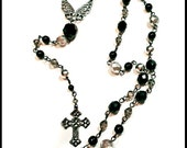 Black and Silver Angel Wings Gunmetal Rosary-style Cross Y Necklace Czech Glass Beads